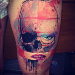Dead and Alive Skull Aquarelle tattoo by Adam Kremer