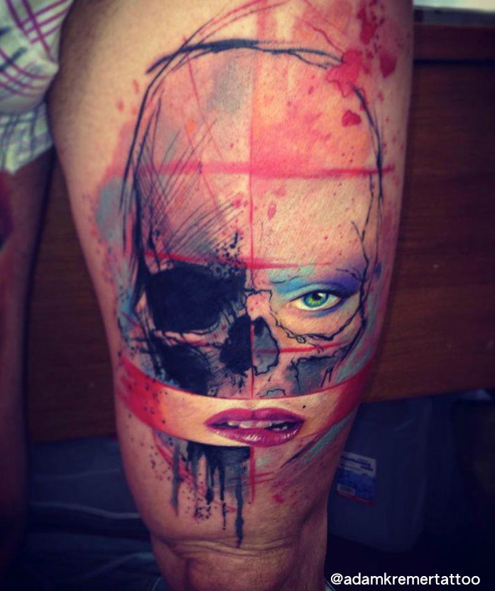 Dead and Alive Scull Aquarelle tattoo by Adam