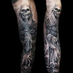 Death with Crusifix Blackwork tattoo sle