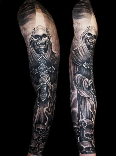 Death with Crusifix Blackwork tattoo sleeve