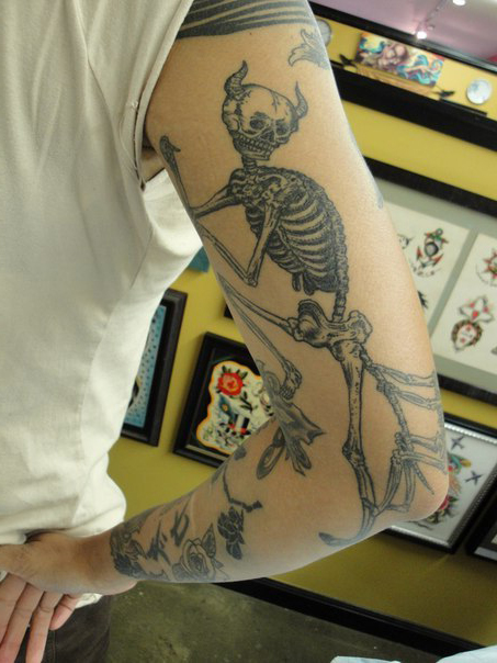 Devil Skeleton Graphic tattoo idea on Hand