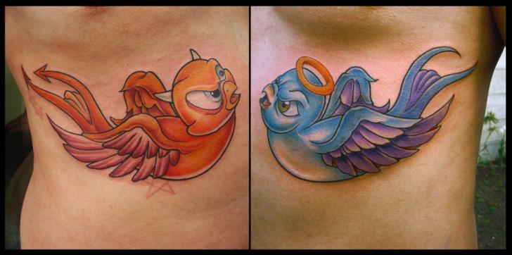 Devil and Angel Bird tattoo by White Rabbit Tattoo