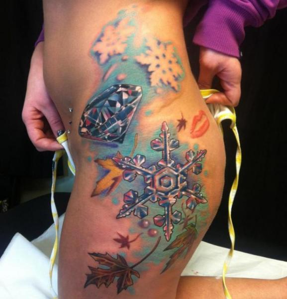 Dimond And Snowflake tattoo by Johnny Smith Art