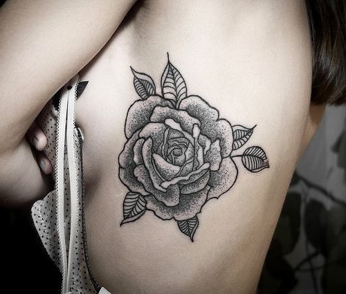 Dotwork Beautiful Rose Flower Tattoo for girl