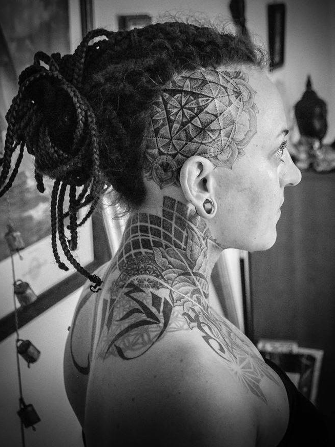 Dotwork Blackwork head tattoo design