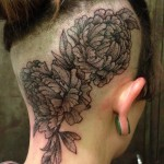Dotwork Flowers head tattoo design