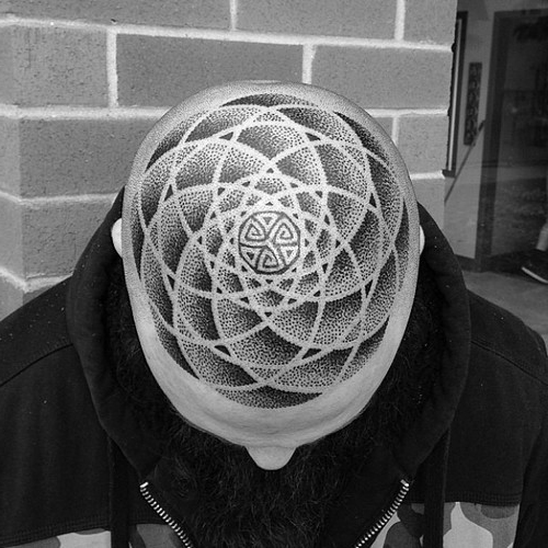 Dotwork Infinity head tattoo design