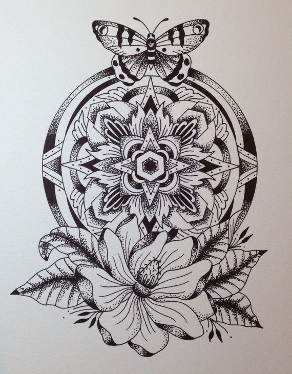 Dotwork Mandala tattoo sketch
