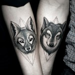 Dotwork Wolf and Fox Couple tattoo