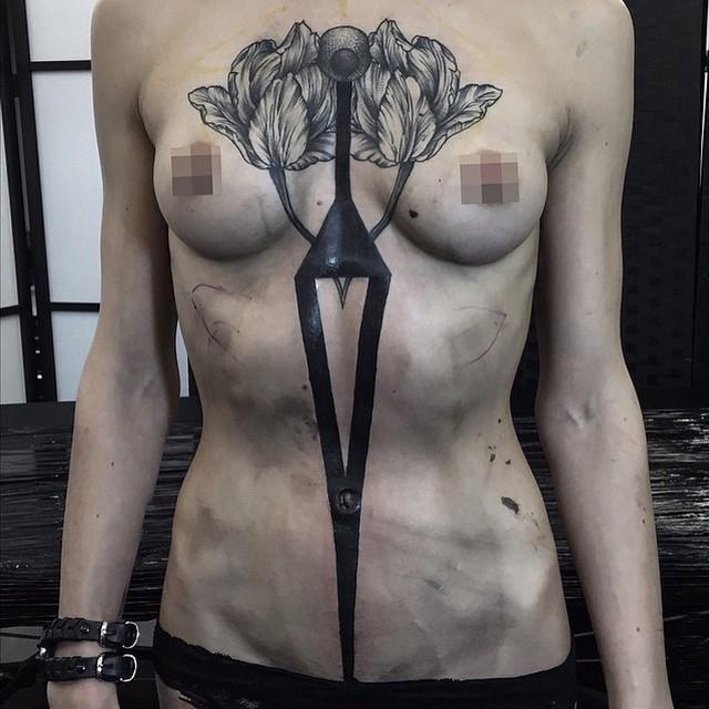 Down Arrow Blackwork tattoo idea