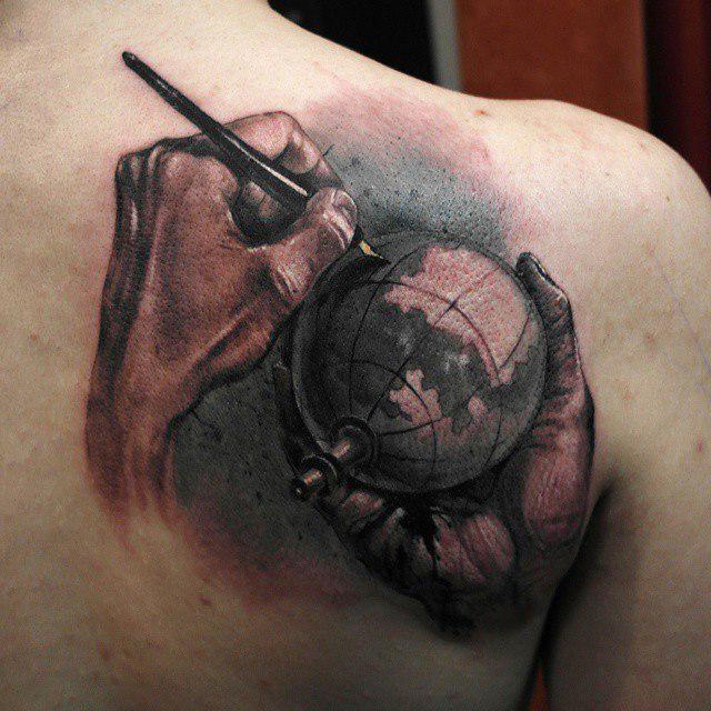 Draw the World realistic tattoo