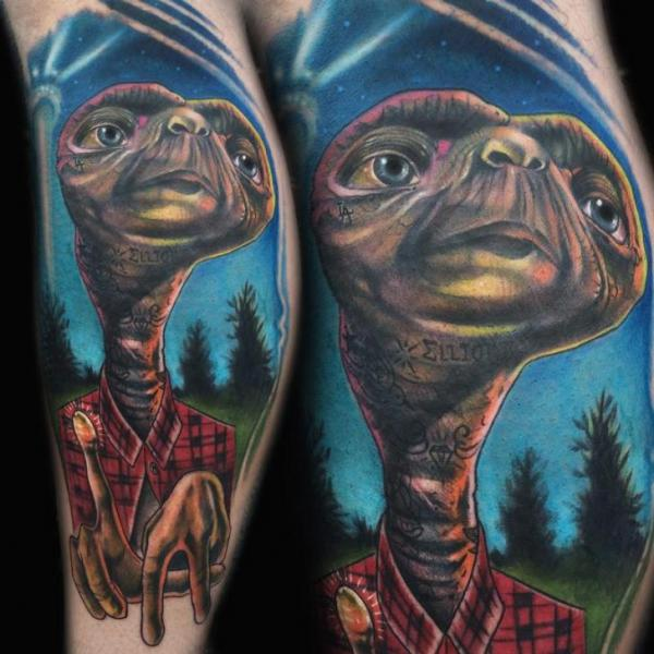 E. T. Alien Realistic tattoo by Johnny Smith Art