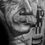 Einstein Trash Polka Lettering tattoo by Westfall Tattoo