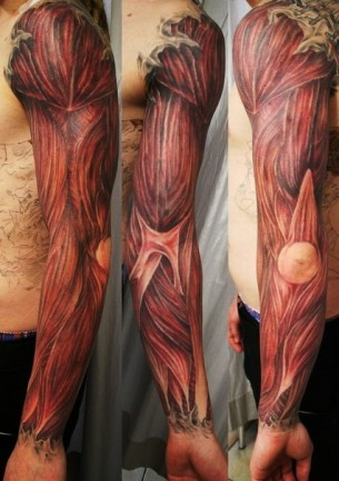 Elbow and Hand Muscles Realistic tattoo sleeve
