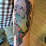 Empty Mask New School tattoo by Anthony Ortega