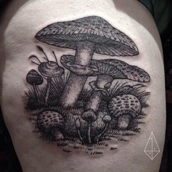 Etching Amanita tattoo by Hidden Moon Tattoo