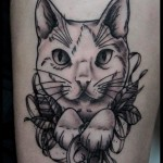 Etching Cat tattoo by White Rabbit Tattoo