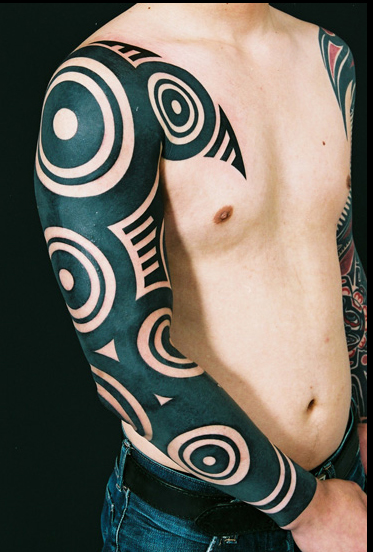 Ethnic Circles Blackwork tattoo sleeve idea