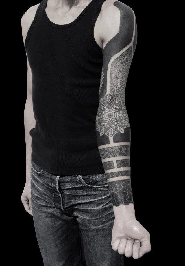 Ethnic Mandala Blackwork tattoo sleeve