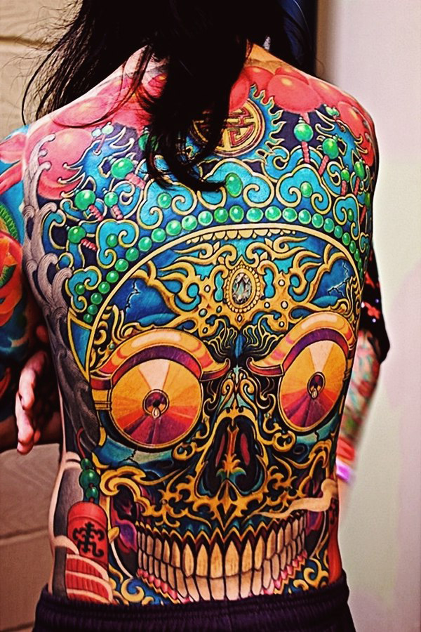 Ethnic Scull New School tattoo idea on Back