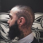 Ethnic tracery head tattoo design