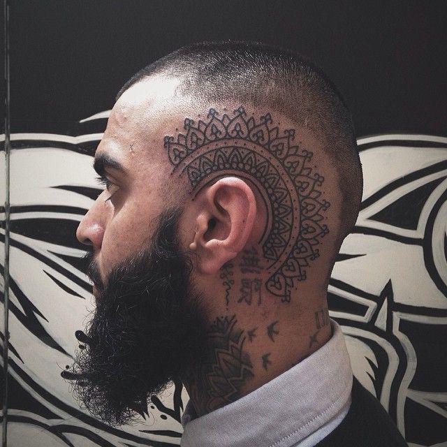 Ethnic tracery head tattoo design