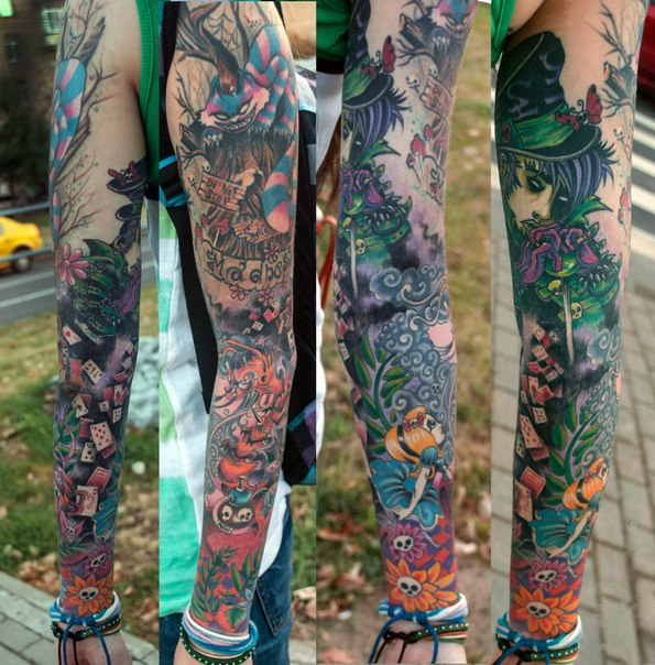 evil alice in wonderland tattoo sleeve by aleksei globus berezniov best tattoo ideas gallery. Black Bedroom Furniture Sets. Home Design Ideas