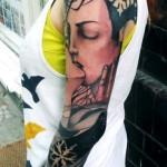 Eyes Closed Kiss tattoo sleeve