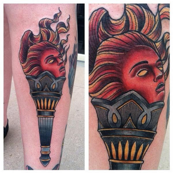 Face Torch tattoo by Last Angels Tattoo