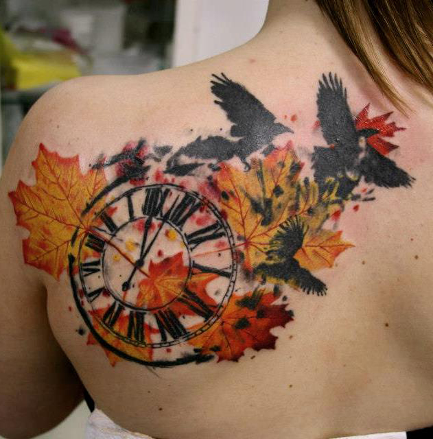 Fall Time Trash Polka tattoo on Back
