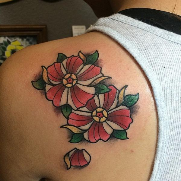 Falling Petal Flower tattoo by Last Angels Tattoo