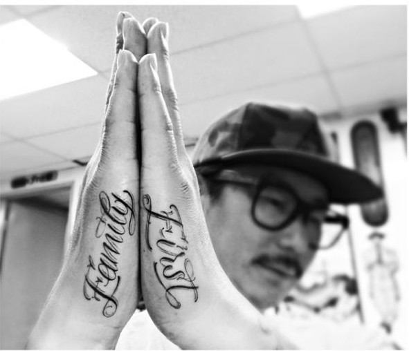 Family First Lettering tattoo on Hands by Dr Woo