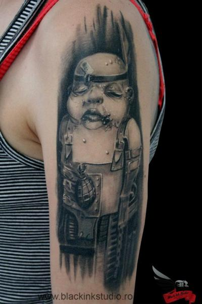 Fat Zombie Child graphic tattoo by Black Ink Studio