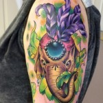 Feather Head Elephant New School tattoo by Marked For Life