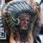 Feather Old School Indian back tattoo by Chapel tattoo
