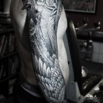 Feather Wings and Roses Graphic tattoo sleeve