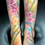 Field Flowers Aquarelle tattoo by Adam Kremer