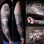 Fingers Hands and Screaming Face Graphic tattoo sleeve