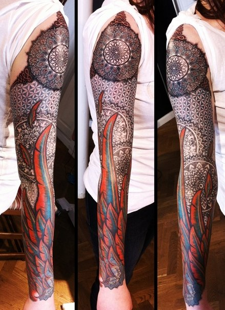 Fire Feather Wing Mandala tattoo sleeve