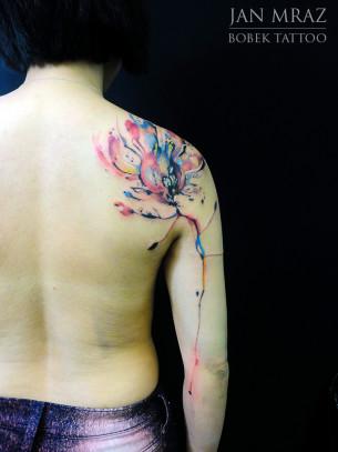 Fire Flower Aqarelle tattoo by Jan Mràz