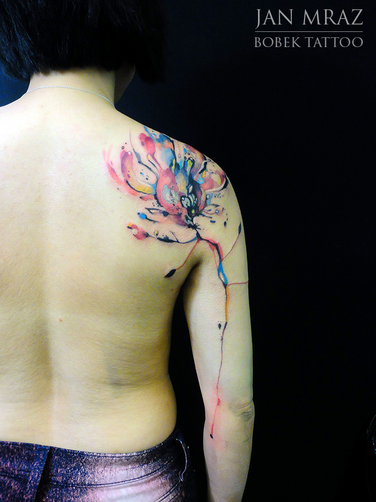 Fire Flower Aqarelle Tattoo By Jan Mràz Best Tattoo Ideas Gallery