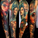 Fire Ravens and Girl Zombies tattoo sleeve