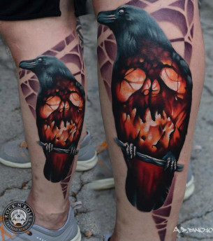 Fire Skull Raven tattoo by AD Pancho
