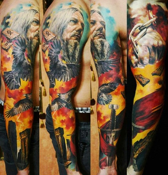 Fire Sky Warrior Scandinavian tattoo sleeve
