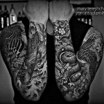 Fish and Waves Dotwork tattoo sleeve