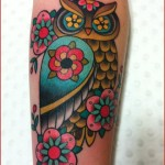 Flower Eyes Owl New School tattoo