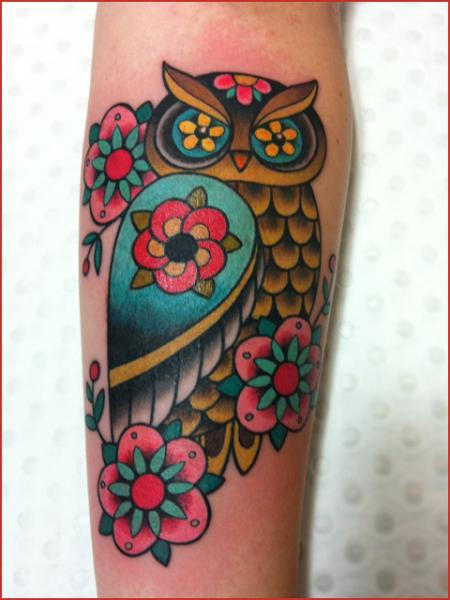 Flower Eyes Owl New School tattoo by Chapel tattoo