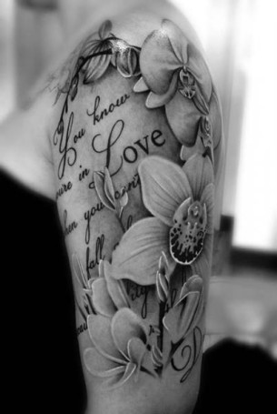 Flower Love Lettering tattoo by Westfall Tattoo
