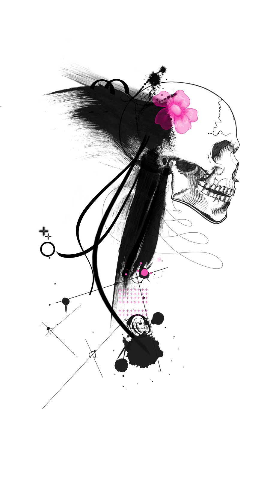 Flower Skull Trash Polka tattoo idea