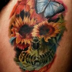 Flower Skull and Butterfly tattoo by Mad-art Tattoo